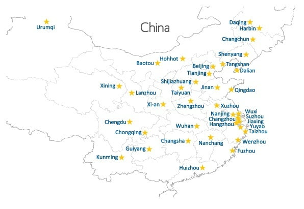 Map of ESL Jobs in China