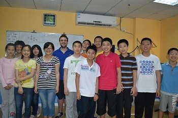 Greg with students