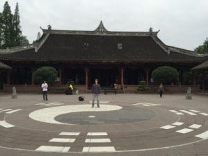 Qingyang Taoist Temple, Chengdu_Ying Yang symbol with people_about May 2015