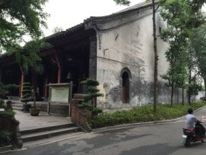 Qingyang Taoist Temple building, road & motorcycle_about May 2015